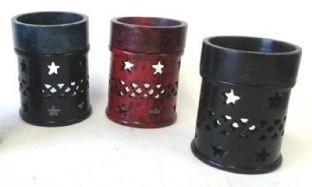 Coloured Soapstone Oil Burner with Jali & Star Pattern (10cm tall)